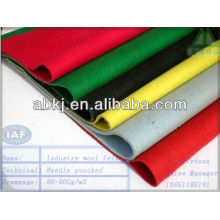 Needle punched nonwoven colored wool felt