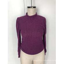 Semi-turtleneck striped long-sleeve sweater