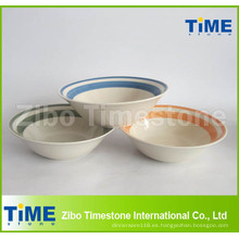 Cuenco de ensalada de cerámica redondo coloreado