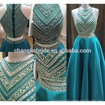 High Quality Handmade 2 Piece Beaded Evening Dress New Design Long Sleeveless Formal Occasion Dress