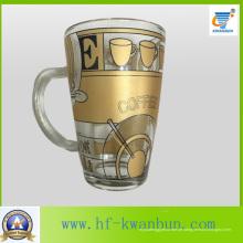 Goldener heißer Verkauf Tee-Kaffee-Glas-Becher mit Abziehbild-Tafelgeschirr