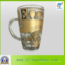 Golden Hot Sale Tea Coffee Glass Mug avec décalque de table