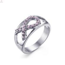 Venta al por mayor Rhinestone de acero inoxidable Pink Ribbon Lady Rings