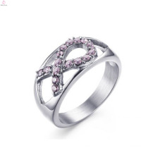 Wholesale Stainless Steel Rhinestone Pink Ribbon Lady Rings