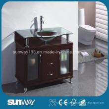 Cabinet de salle de bain en bois massif au sol avec évier