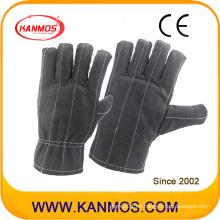 Color oscuro cosido guantes de trabajo de trabajo de algodón de seguridad (41021)