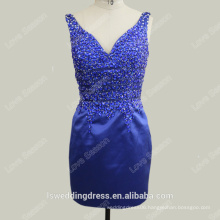 RP0105-1 Sexy short low back satin christmas party formal evening dress prom dress glass stone cocktail dresses short royal blue