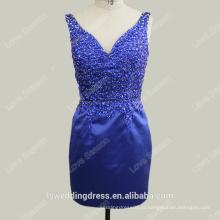 RP0105-1 Sexy curto baixo volta cetim festa de natal formal vestido de noite vestido de formatura vestido de vidro vestidos de cocktail de pedra curto azul real