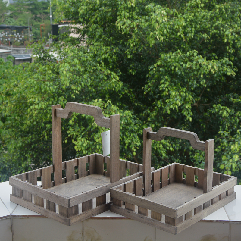 Rectangular Pine Solid Wood Storage Basket