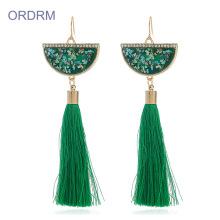 Wholesale boho long green tassel earrings