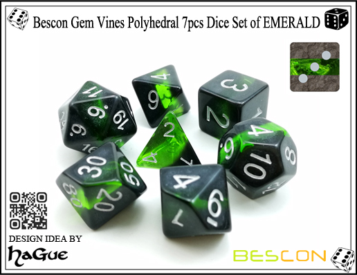 Bescon Gem Vines Polyhedral 7pcs Dice Set of EMERALD-2