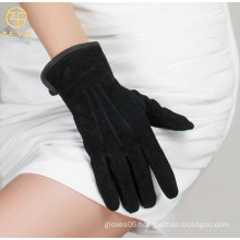 Customized Lady black sheep suede leather gloves