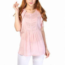 Women's blouses, 100% cotton crepe, short sleeve, round collar
