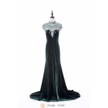 2017 Robes de soiree de luxe de haute qualité Robes de soie de velours bleu marine