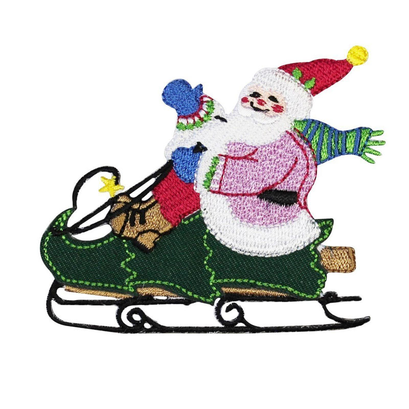 Santa Riding Christmas Tree Sleigh Embroidered Emblem