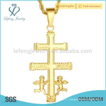 Large cross pendants costume jewelry, guardian angel gold pendant 22k gold jewelry