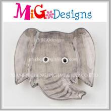 Assiette de table simple en céramique à éléphant gris