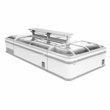 Supermarket frost free curved glass chest display freezer
