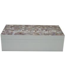 CPN-WPSBL boîte à bijoux en coquillage rose avec peinture blanche grande