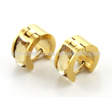 stainless steel gold plating earring with yellow cz for women