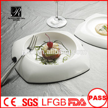 Wholesale white durable used restaurant serving plates/unique shape dinner plate