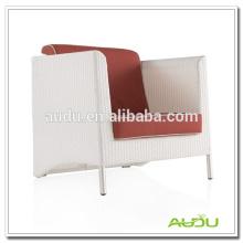 Audu Red Cushion Rattan Antique White Chair