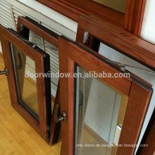 Amerikanische nach Massivholz aus massivem roten Eichenholz verkleidete nach innen öffnende französische Fenster für Kalifornien-Kunden