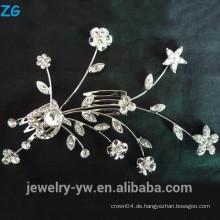 Art und Weise Splitter überzogene Metallhaarzusatzprinzessinkristallblumenbrautkämme