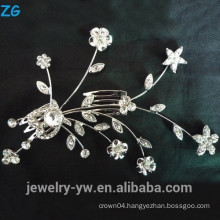 Fashion sliver plated metal hair accessories princess crystal flower bridal combs
