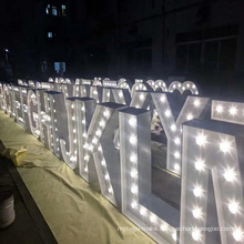 LED  Marquee illuminated Letters  Led Stainless steel bulb letter 3D 3D illuminated sign acrylic Light Signs Letter