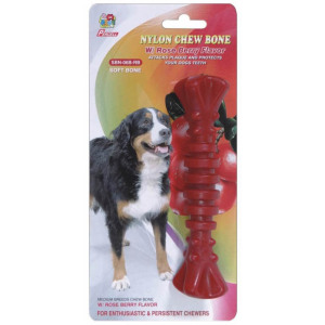 "Percell 6 ""Nylon Dog Chew Spiral Bone Rasberry Scent"