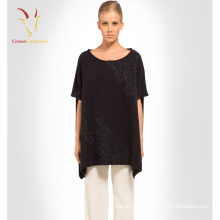Womens oversized short sleeve knitted sweater with lace