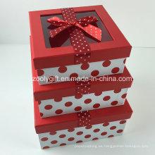 Custom DOT impreso cinta decorada caja de regalo de papel con ventana transparente