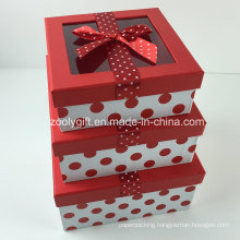 Custom DOT Printed Ribbon Decorated Paper Gift Box with Clear Window