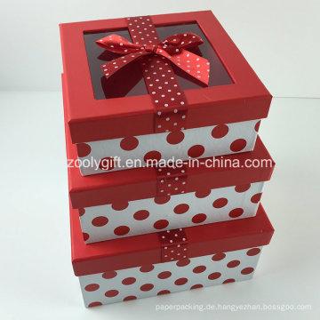Kundenspezifisches DOT gedrucktes Band verziert Papier-Geschenk-Kasten mit freiem Fenster