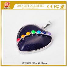 7 y siete Chakras piedra preciosa azul colgante de corazón de Goldstone