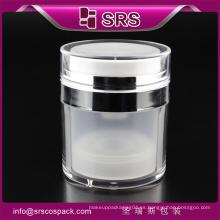 China Jar de lujo de oro de crema para el cuidado de la cara Tarro de crema vacía y venta al por mayor tarro sin aire recipientes de cosméticos