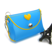 Fashion Silicone Coin Purse with Metal Clip and Metal Chain