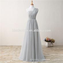 2017 nuevo vestido de noche largo de lino gris de un hombro más barato de la manera