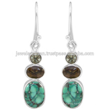 Tibetan Turquoise And Multi Gemstone 925 Sterling Silver Earring