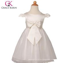 Grace Karin más nuevo diseño casquillo manga blanca flor vestidos niñas patrones CL4838
