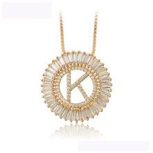 34439 vente chaude xuping collier de mode en or 18K couleur lettre K collier de luxe