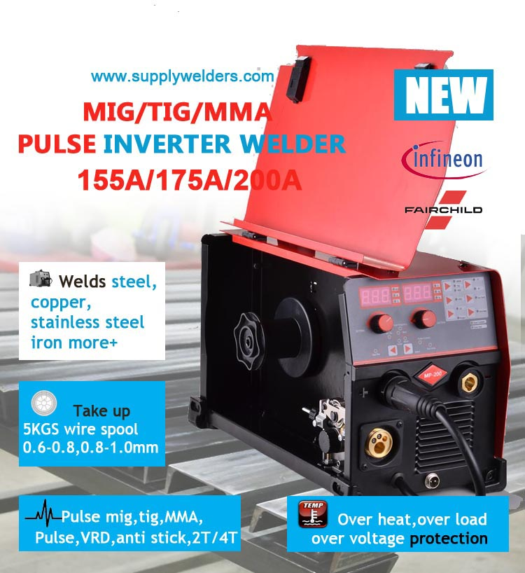 Pulsed mig tig mma 3 in 1 inverter welding machine,portable easy operation,digitalized display,precise output control