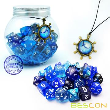 Bescon RPG Dice Set 35pcs Ocean Blue Set, Jeu de rôle du MDN Dice 5X7pcs