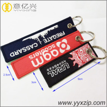 Beautiful embroidery logo 3cm width promotional keychains
