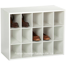 White Wooden Stackable 15-Cube Organizer Storage Cabinet