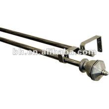 12 mm de largo cremallera de metal cortina pole, industrial cortina varillas