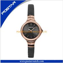 O relógio de pulso de aço inoxidável o mais grande do relógio do bracelete da senhora da cara