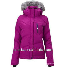 purple color softshell women down jacket