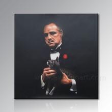 Pintura a óleo pintada mão do retrato na lona